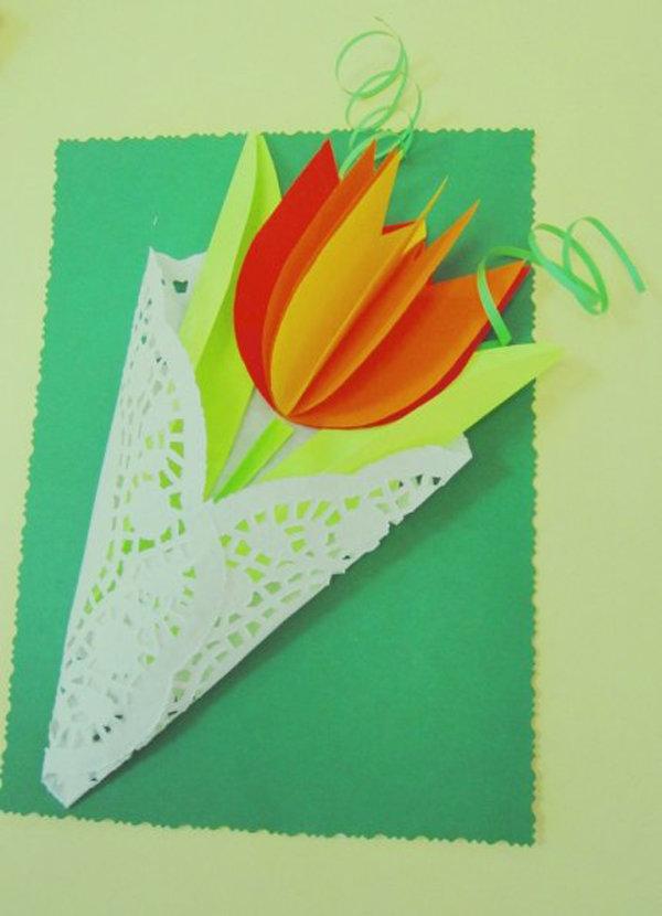 Тюльпан открытка из бумаги