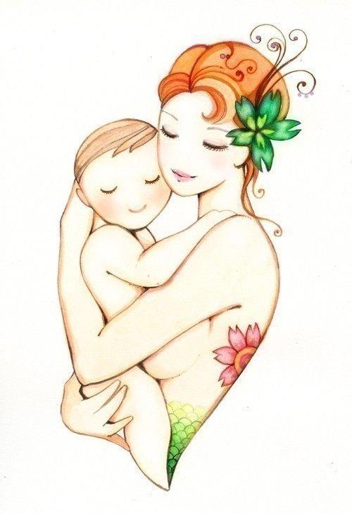 Картинки мать и дети рисованные
