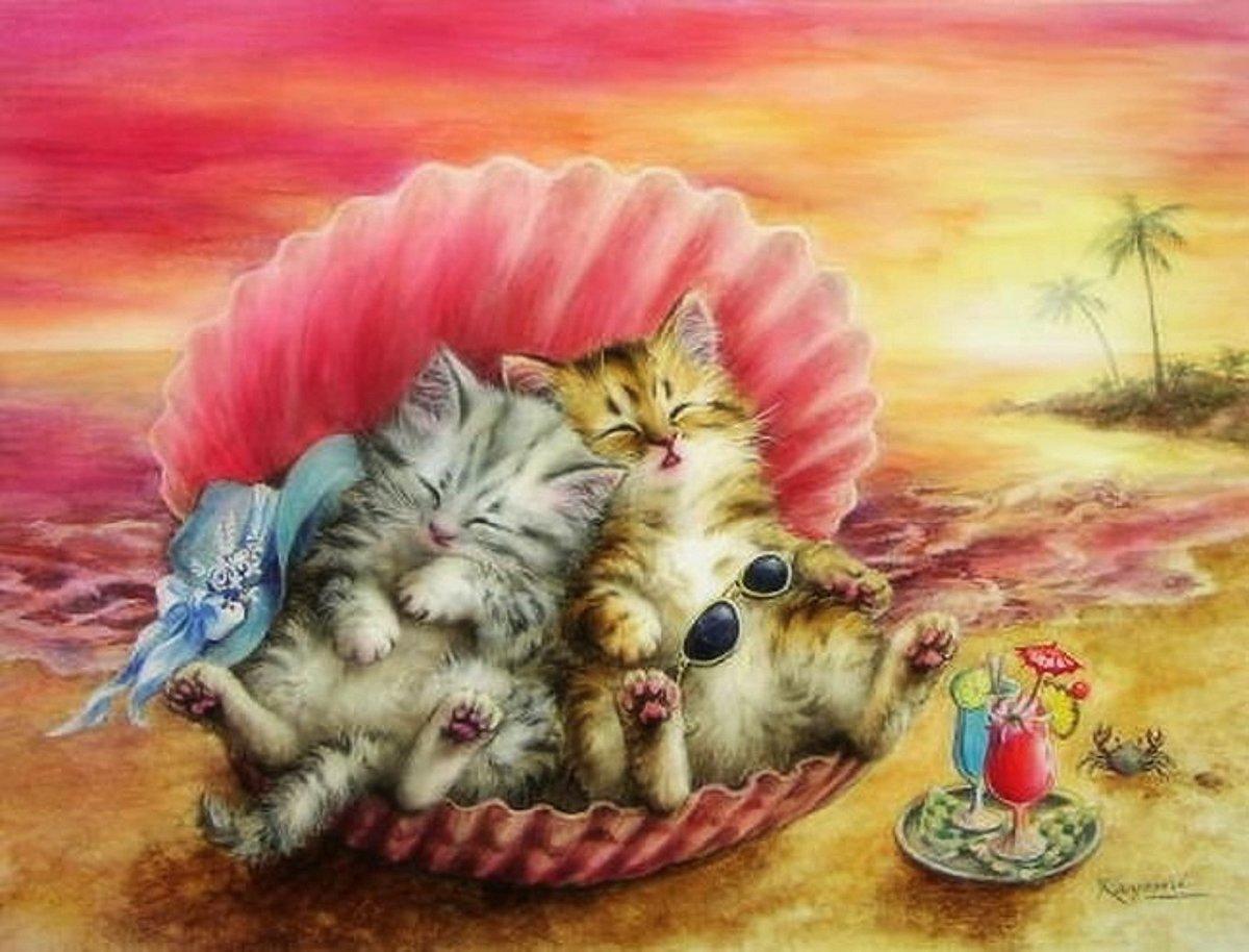 Поздравлений, коты прикольные картинки декупаж