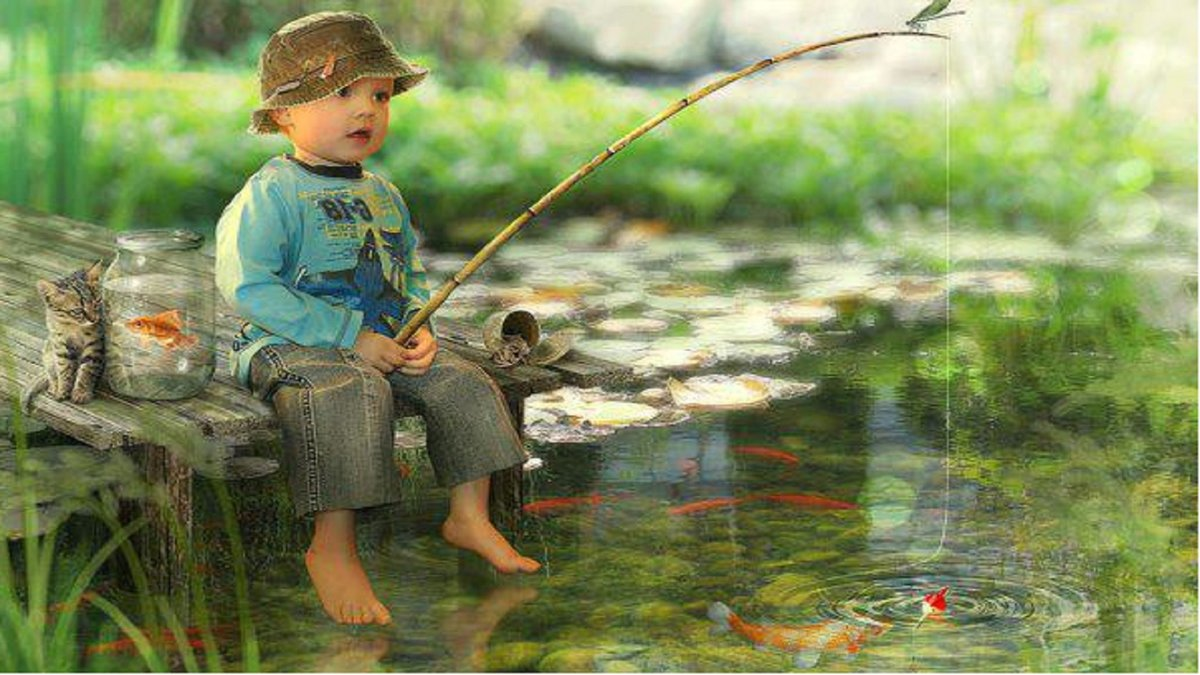 Дети на рыбалке картинки