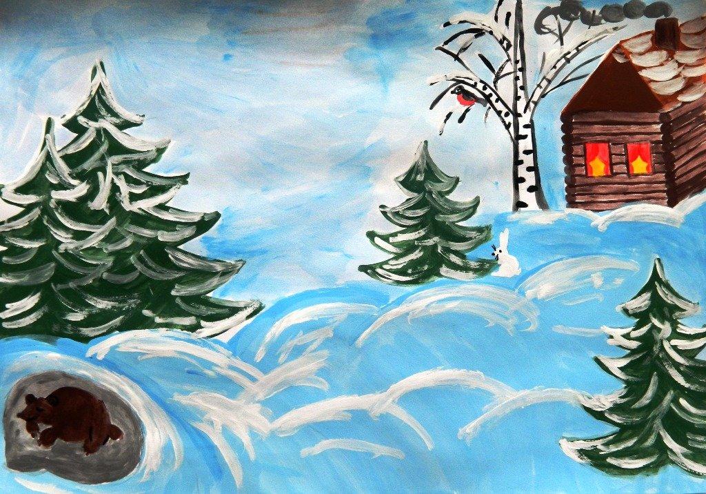 Рисунок на зимнюю тему в детский сад