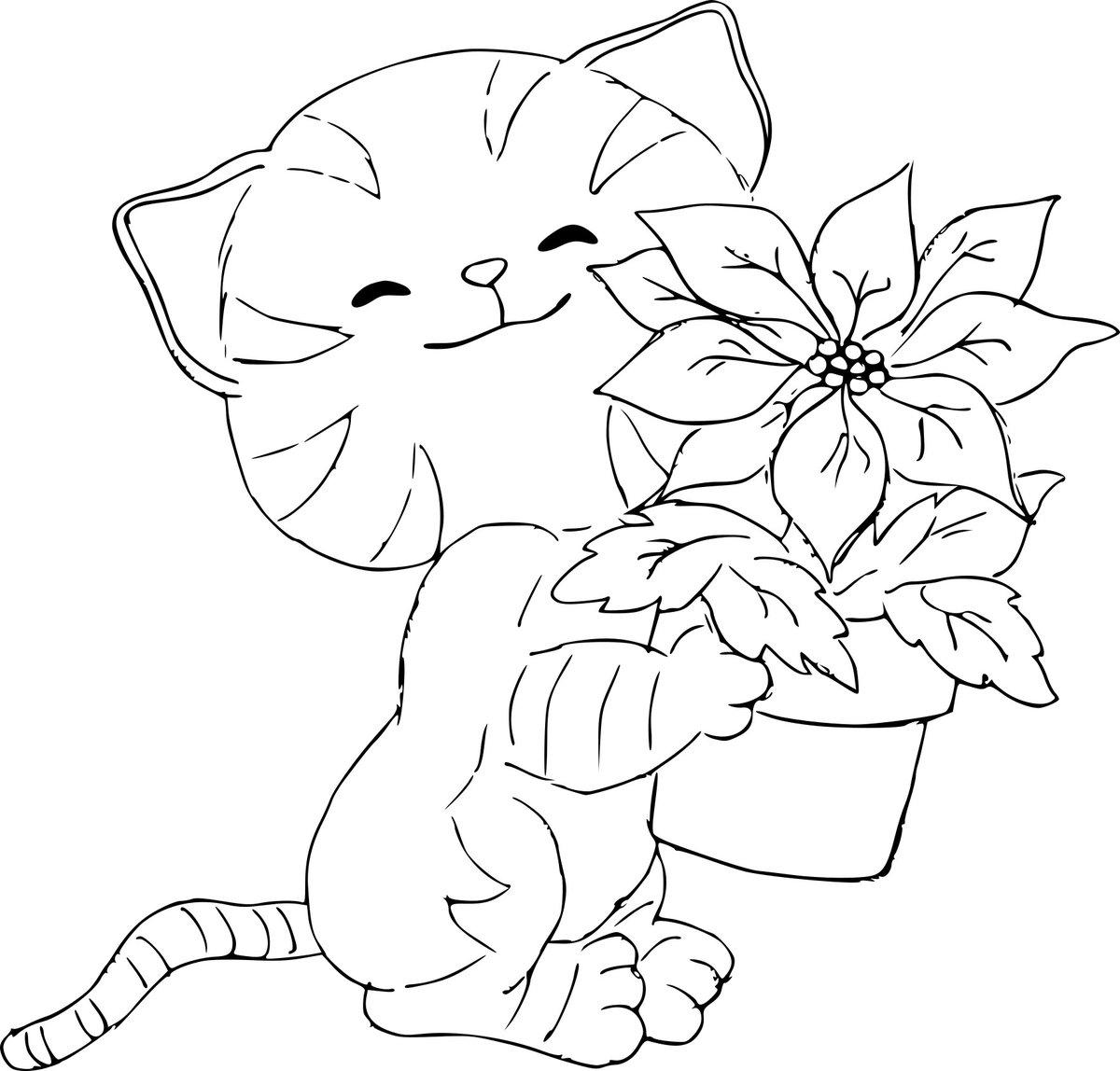 Рисунки с кошками красивые для раскрашивания