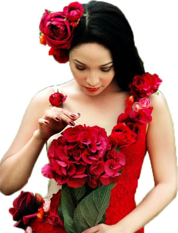 Открытки, открытка девушки с цветком