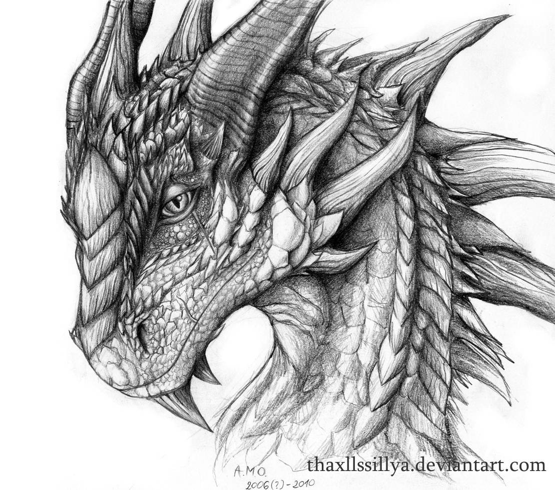 Tag drawings of dragons in pencil drawing sketch library