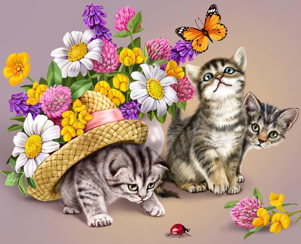 Картинки лет, открытки кошки с цветами