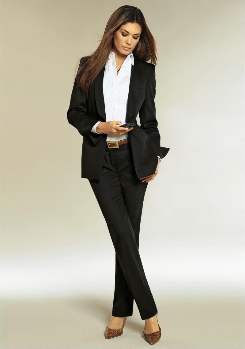 694f45e6 Черный строгий женский брючный костюм Черный строгий женский брючный костюм