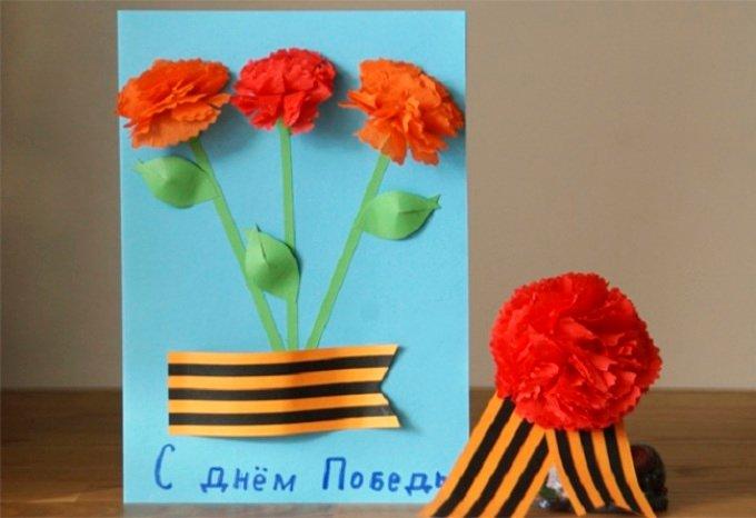 Открытка с гвоздикой к 9 мая своими руками, открытки новогодние открытки