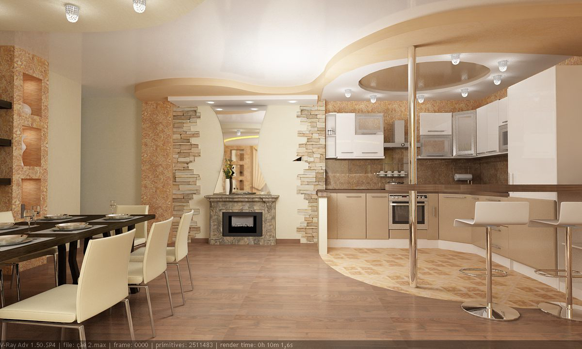 смотреть фото дома зал вместе с кухней сосновым