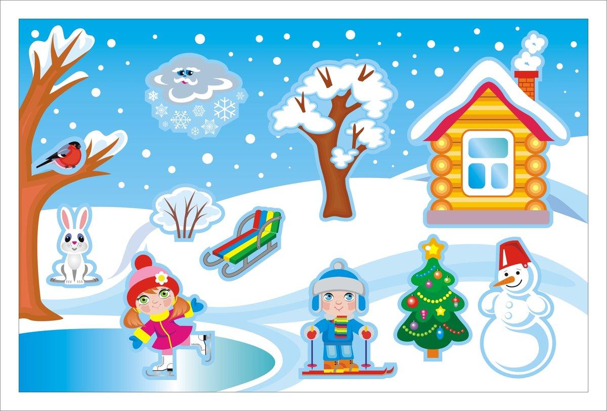 Картинки с детьми зимой нарисованные
