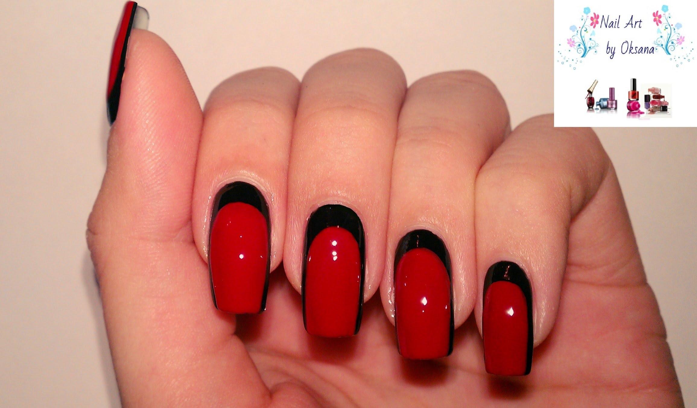 Лунный маникюр ногтей красным и черным