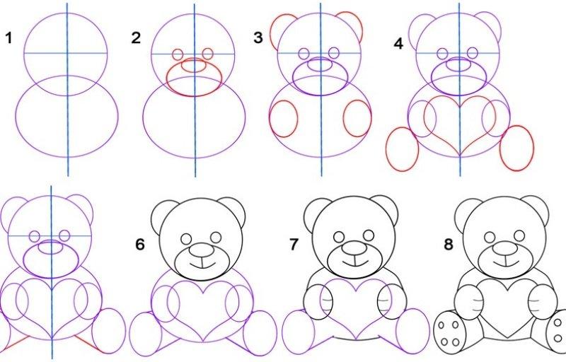 Как нарисовать мишку картинку, открытка окном