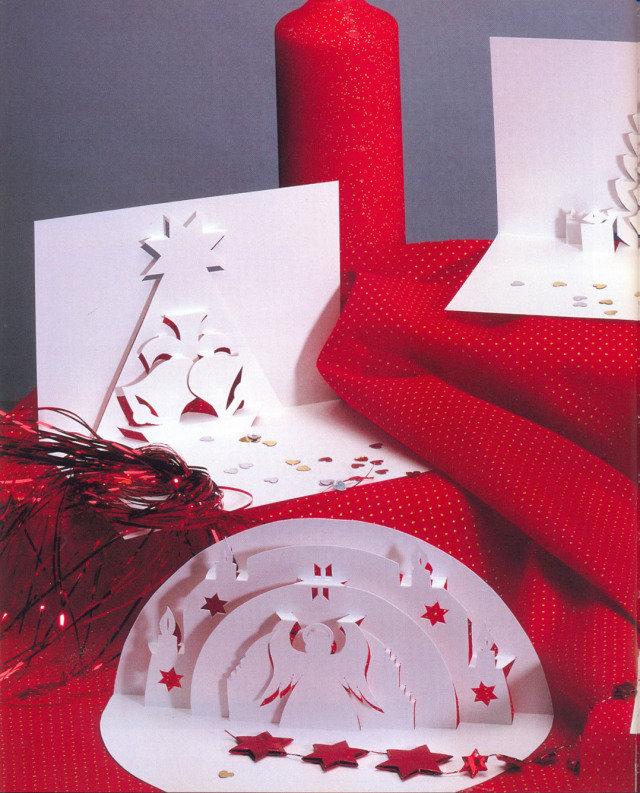 Рождественские открытка киригами, военные