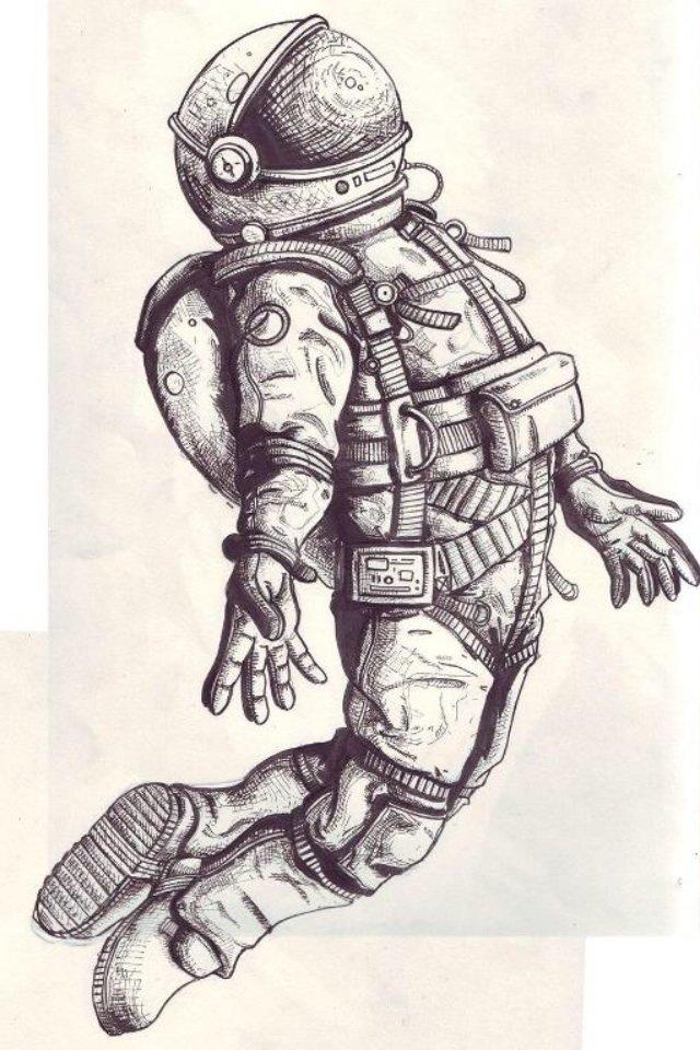 Картинки с космонавтом нарисованные