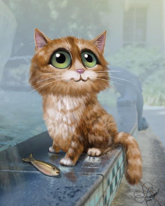 картинки рыжего кота с зелеными глазами мультяшного отобрали мои