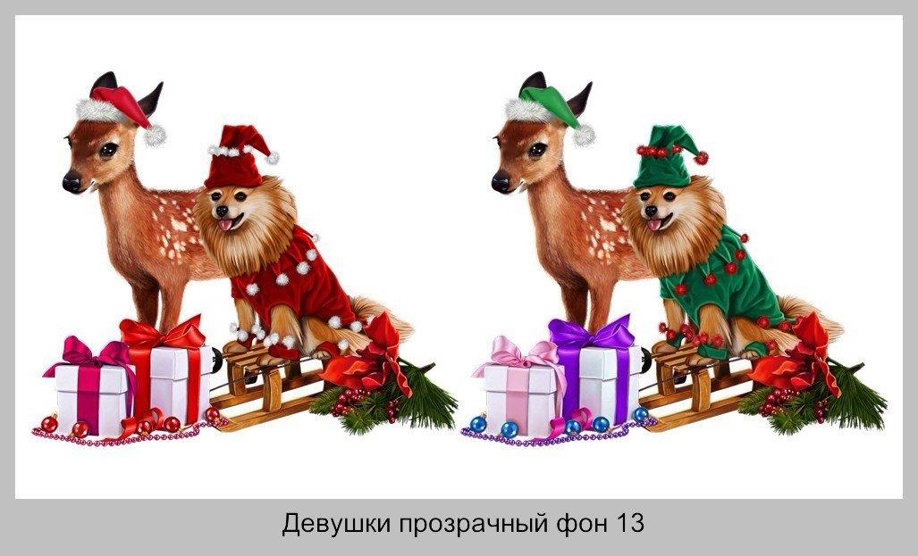 Новый год Животные прозрачный фон