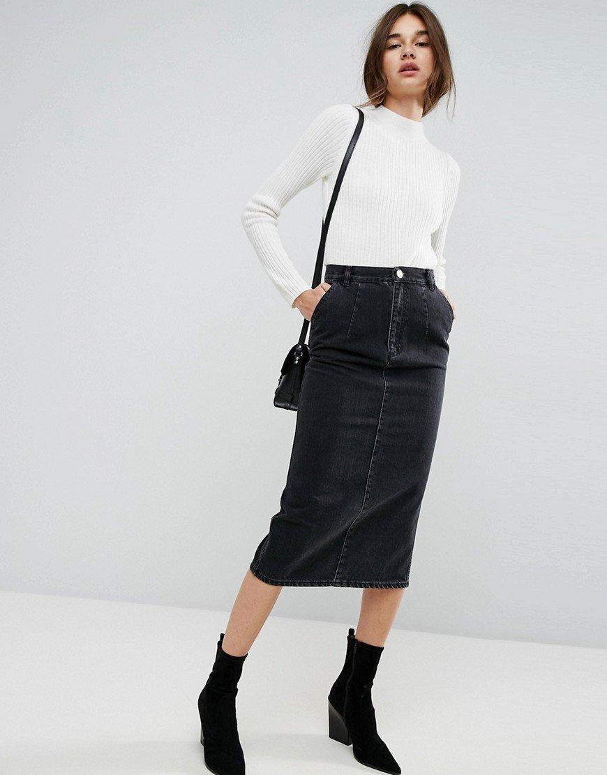5a6640ed2c8 Черная джинсовая юбка миди ниже колен Черная джинсовая юбка миди ниже колен