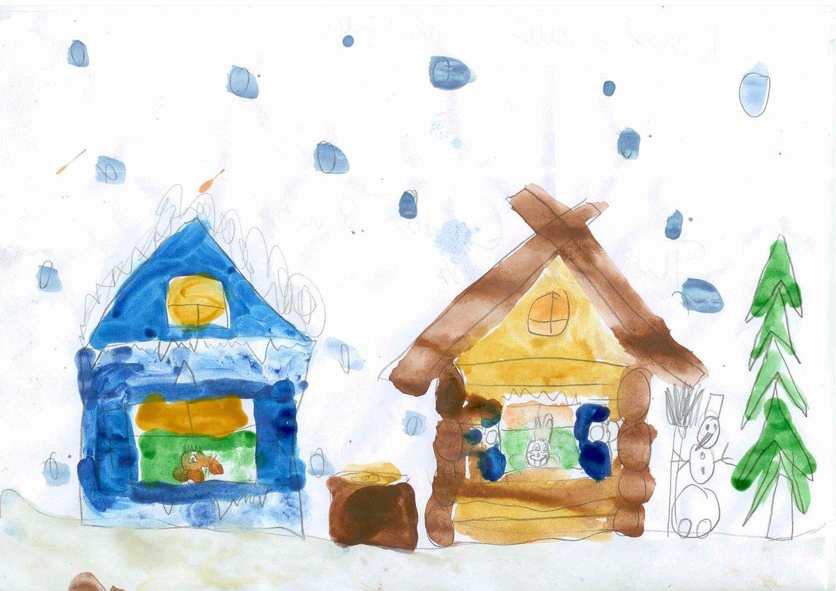 Заснеженный дом рисунок красками