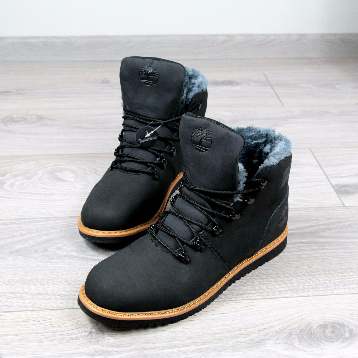 Ботинки Мужские зимние Timberland черные мех, зимняя обувь прошитые ... 614961b0189