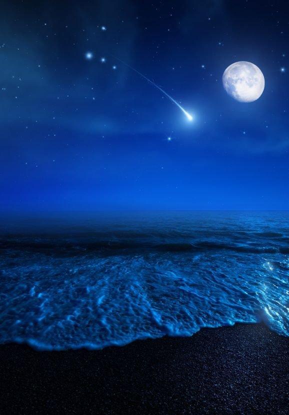 Ночь море луна звезды картинки