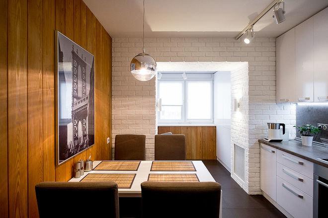 """Интересный дизайн кухни с присоединенным балконом."""" - карточ."""