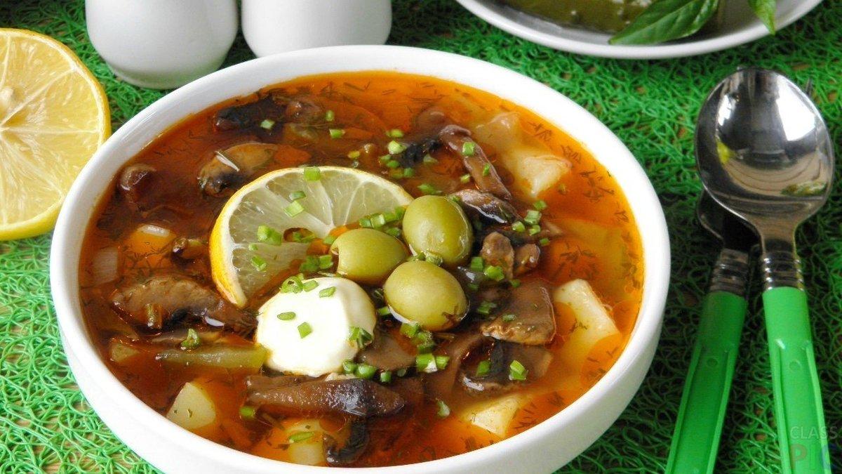солянка мясная сборная пошаговый рецепт с фото с грибами