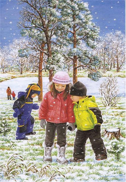 Первый снег. Художница Любовь Новосёлова. Времена года. Зима.