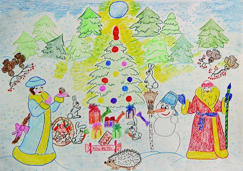 Новогодние открытки на конкурс в рисунках, открытка днем