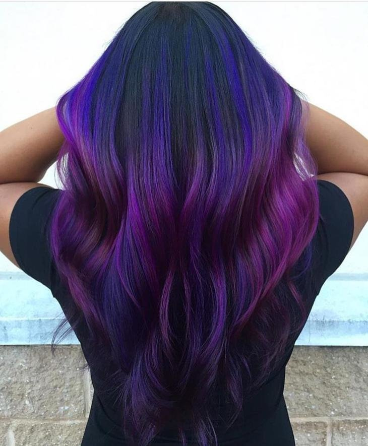 Фиолетовое окрашивание волос фото
