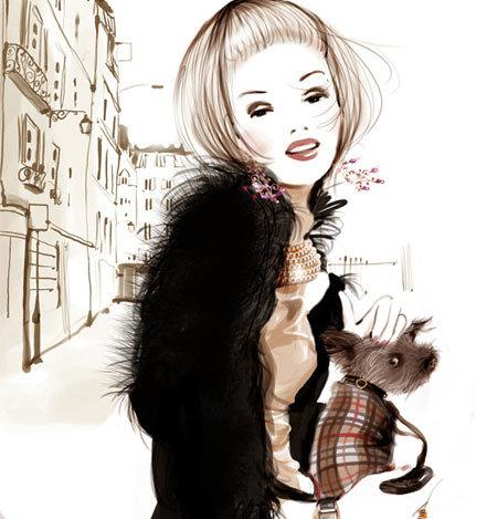 Картинки девушка с собачкой рисованные