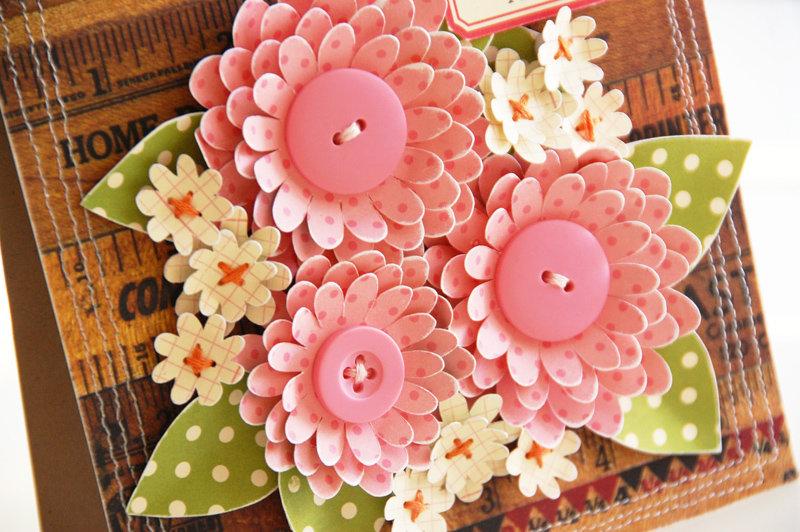 Открытки с бумажными цветами с своими руками