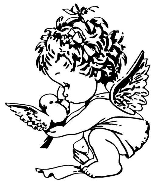 Маленькие ангелочки картинки черно белые