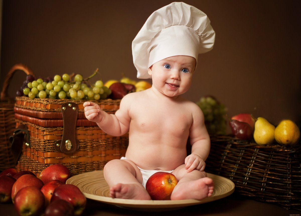 Прикольные картинки дети с фруктами, картинки