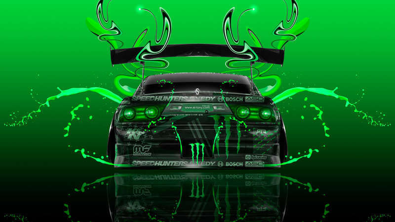 Monster Energy Nissan 180SX JDM Back Plastic Car