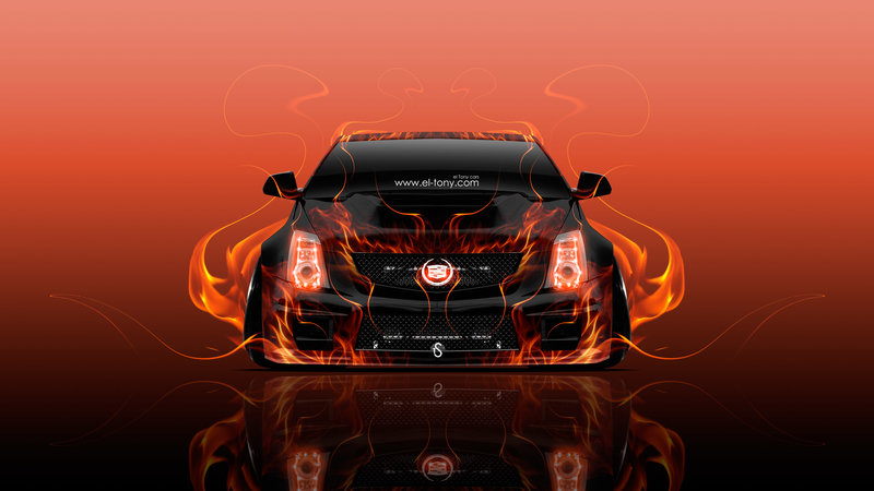 Cadillac CTS V Hennessey Tuning Front Fire Abstract