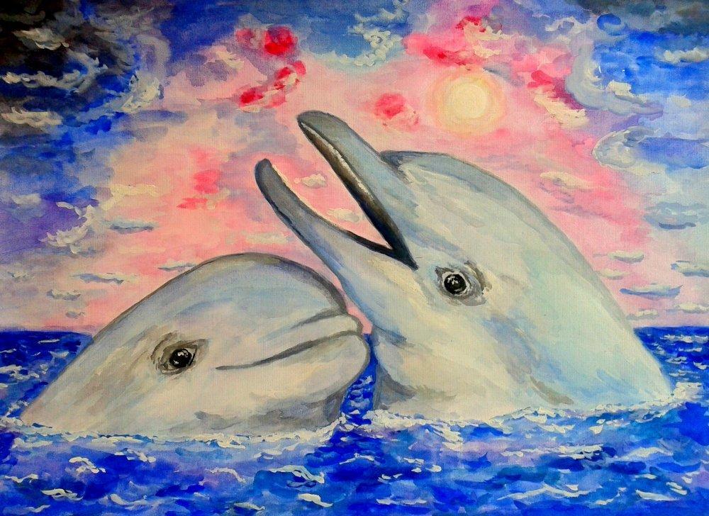 Картинки с дельфинами как рисовать