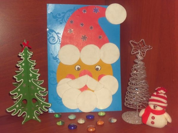 Днем рождения, открытка дед мороз своими руками из ватных дисков
