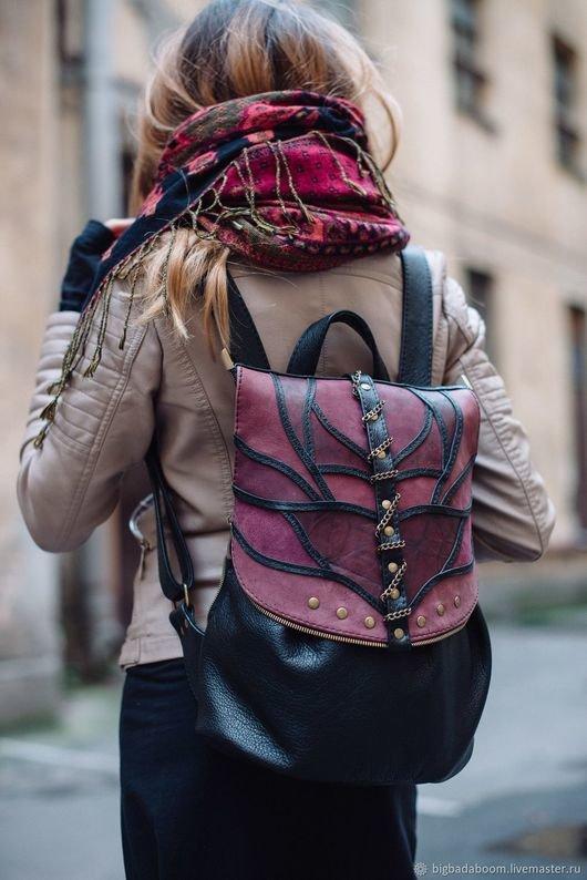 Купить или заказать Рюкзак кожаный женский черный фиолетовый Demon в интернет  магазине на Ярмарке Мастеров. 7c651539681