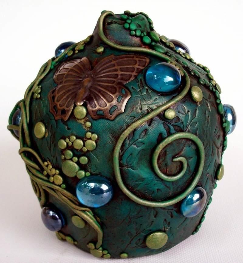 Картинки полимерной глины на вазе