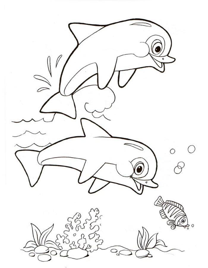 Открытку, картинки с морскими обитателями для раскрашивания