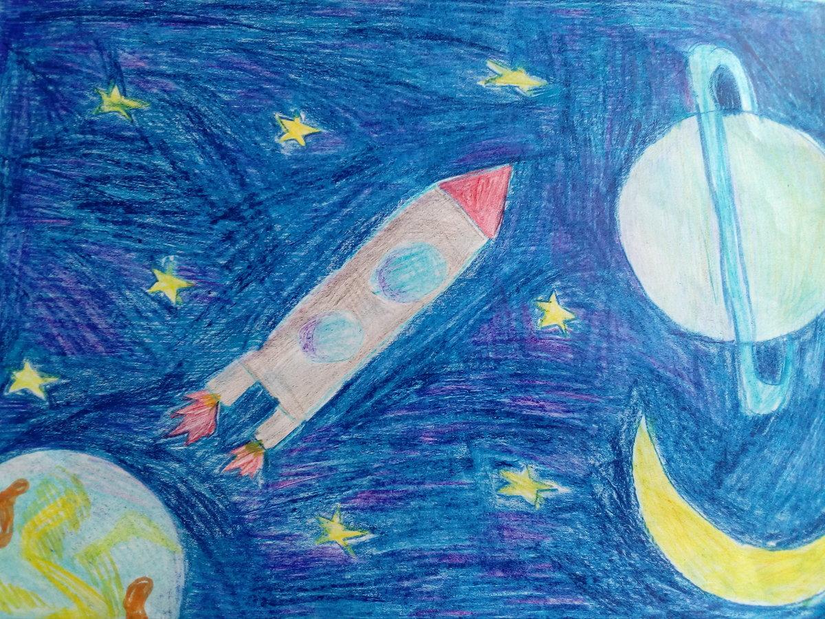 Легкие рисунки на тему космос карандашом