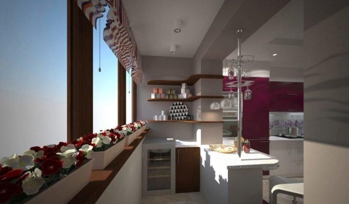 Совместить балкон с кухней требуется для оптимизации простра.