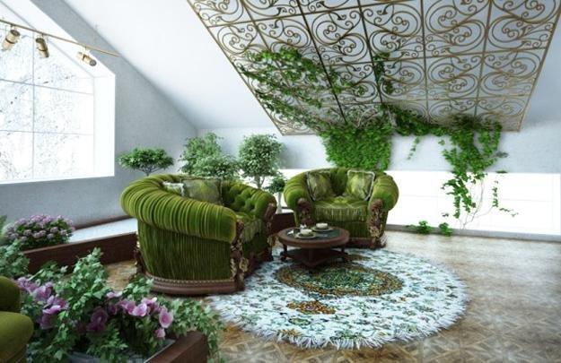 Очень красивое использование растений в интерьере гостиной