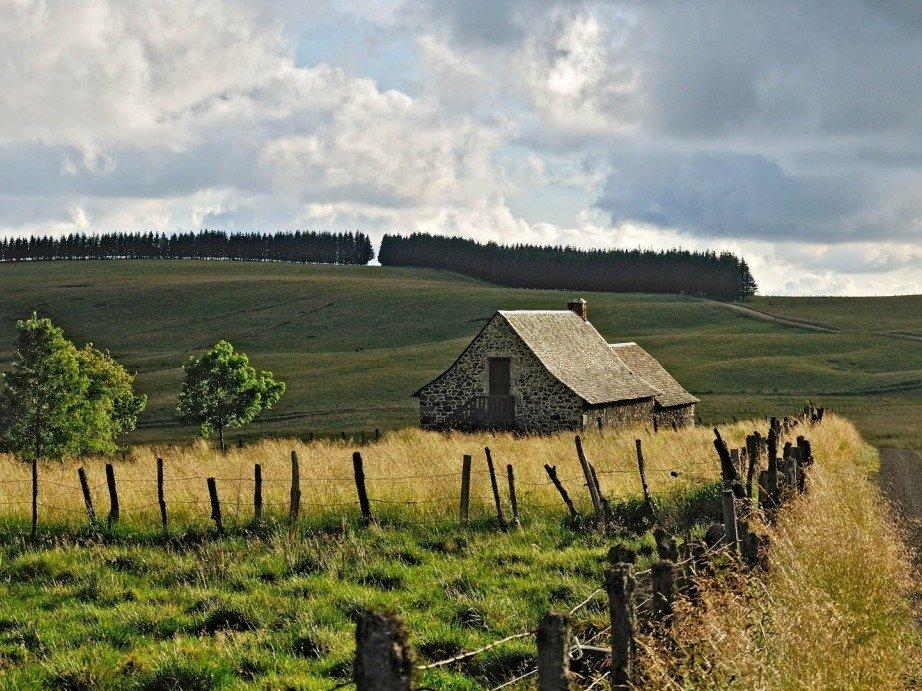 дом, поле, Франция, природа, дорога