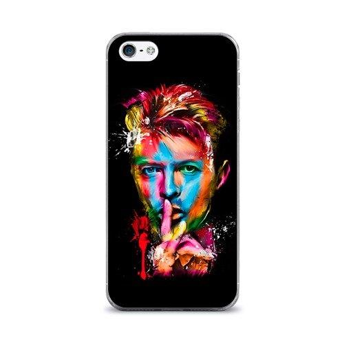 Чехол для Apple iPhone 5/5S силиконовый глянцевый ультра тонкий Дэвид Боуи