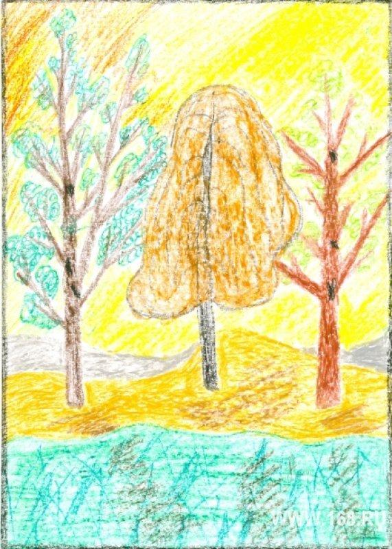 Осенний лес детские рисунки карандашами