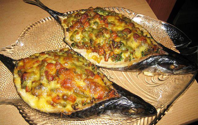 скумбрия запеченная в духовке с овощами рецепт с фото