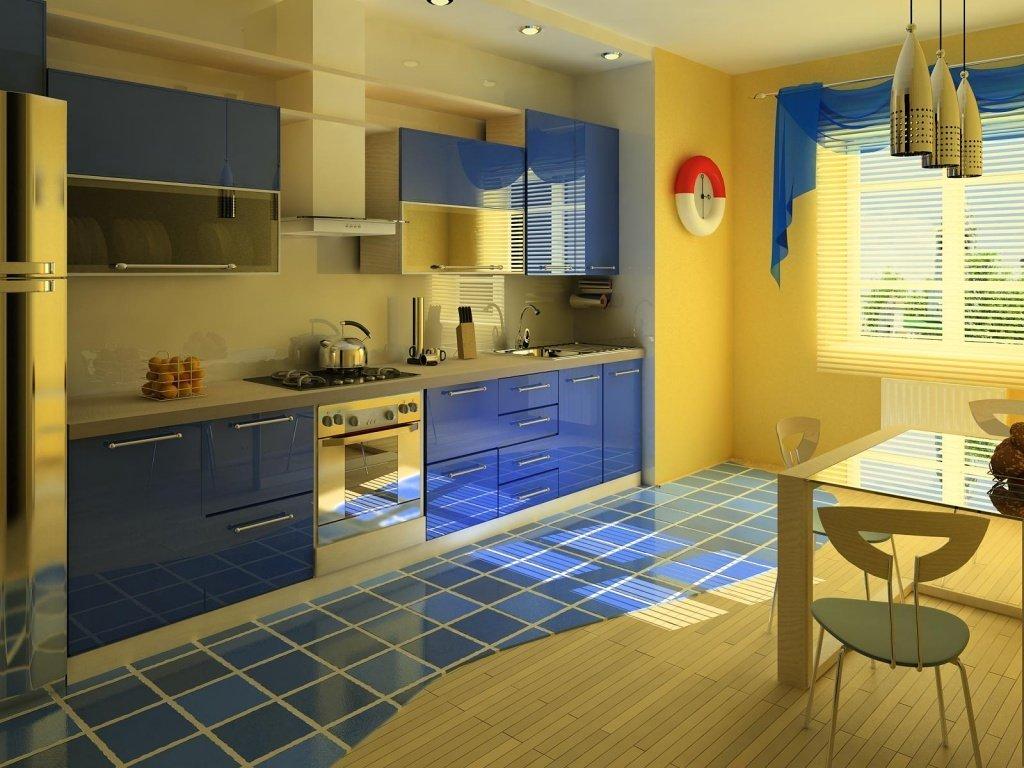 тонах кухня в сине фото бежевых