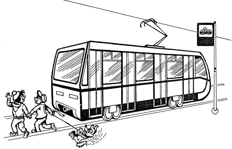 она контурная картинка трамвая поддержим любое