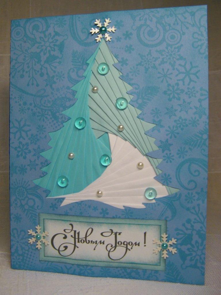 открытка елка скрапбукинг мастер класс мир волшебный небе