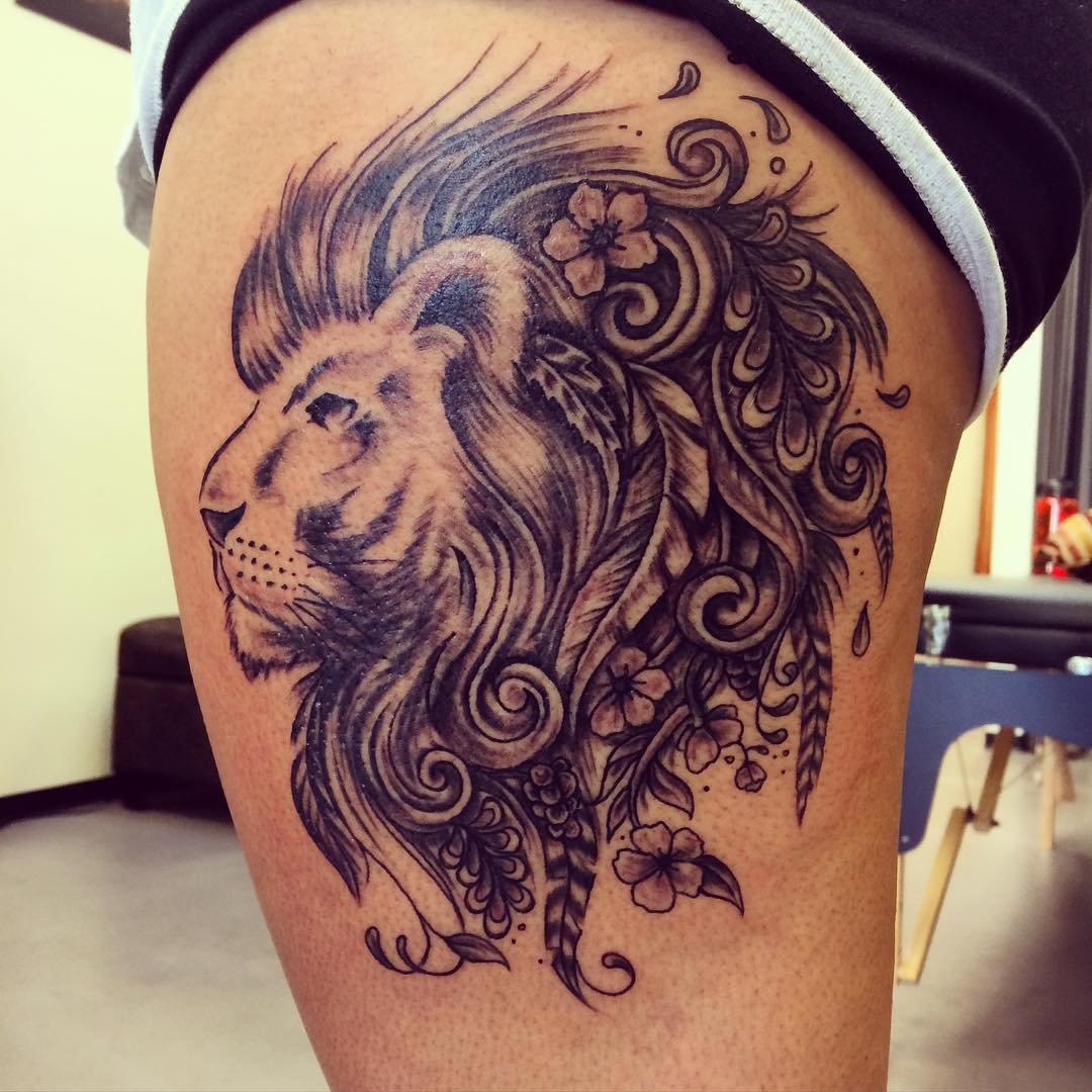 lion side tattoos for women - HD1080×1080